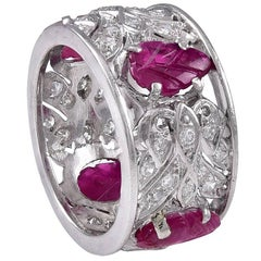 Art Deco Diamond Carved Ruby Platinum Band ring