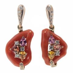 Luise Coral Diamond Sapphire Earrings