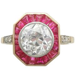 1930s French 2.10 Carat Diamond and Ruby Yellow Gold Cocktail Ring