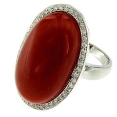 Natural Oxblood Aka Coral Diamond Gold Ring