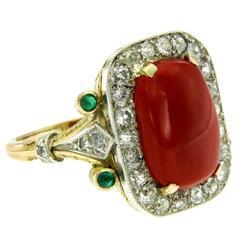Coral Diamond Emerald Gold Retro Ring