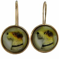 Original 1950s Reverse Painting under Crystal Gold Fox Terrier Earrings