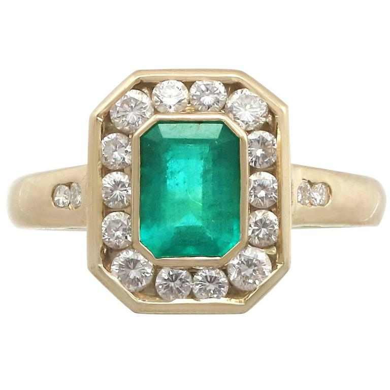 1990s Emerald and Diamond Yellow Gold Cocktail Ring