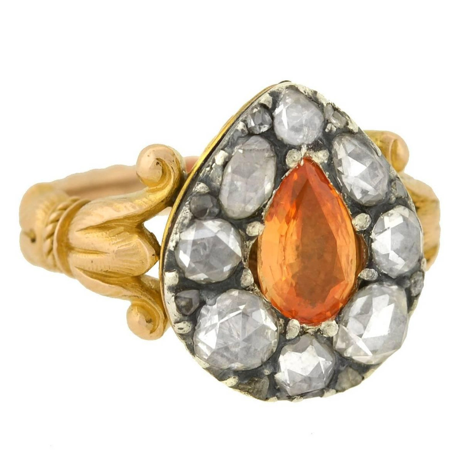 Georgian Imperial Topaz Rose Cut Diamond Ring For Sale at 1stdibs