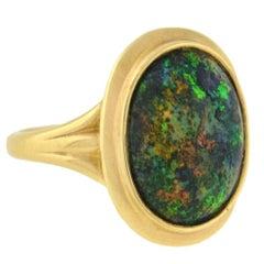 Art Deco Black Opal Cabochon Ring