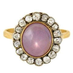 Victorian 4.50 Carat Natural Lavender Star Sapphire Diamond Cluster Ring