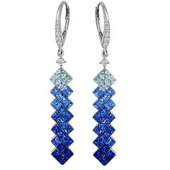 Blue Sapphire and Diamond Drop Earrings in White Gold