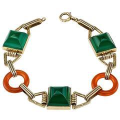 Art Deco 1930s Green Onyx Carnelian Gold Bracelet