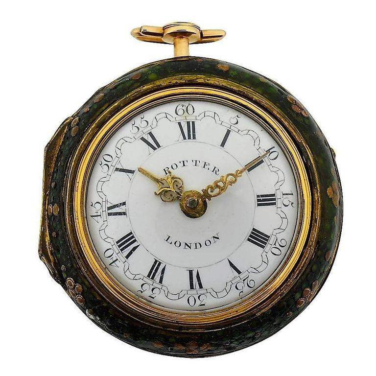 Harry Potter's Watch London 1791 Gold Repousse Verge Fusee For Sale