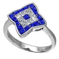 Blue Sapphire Diamond White Gold Ring