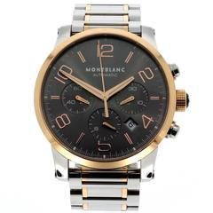 Montblanc Rose Gold Stainless Steel Timewalker Chronograph Wristwatch Ref 7141