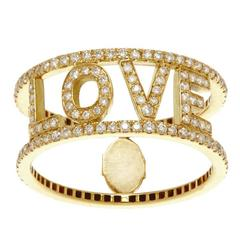 """18 Carat Yellow Gold White Diamonds Only You """"Love"""" Statement Ring"""