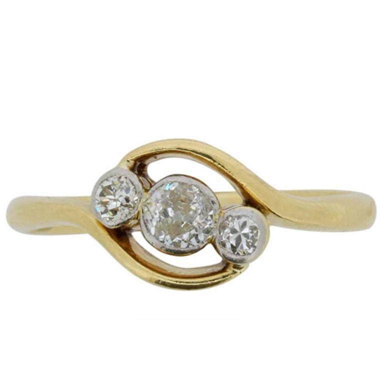 Late Victorian 0.45 Carat Old Cut Diamond Three-Stone Ring, circa 1900s