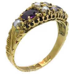 Antique Pearl and Paste Garnet Ring Chester Hallmark for 1888 15 Carat Gold