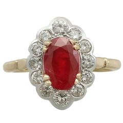 1950s 2.17 Carat Ruby and Diamond Yellow Gold Cocktail Ring