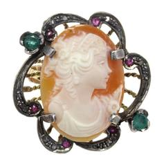 Luise Gold Silver Diamond Emerald Ruby Cameo Cocktail Ring