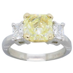 GIA Certified Radiant Cut Fancy Yellow Three-Stone Diamond Ring