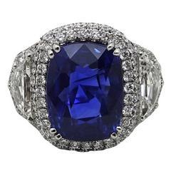 11.49 Carat Cushion Cut Sapphire and Diamond Platinum Engagement Ring