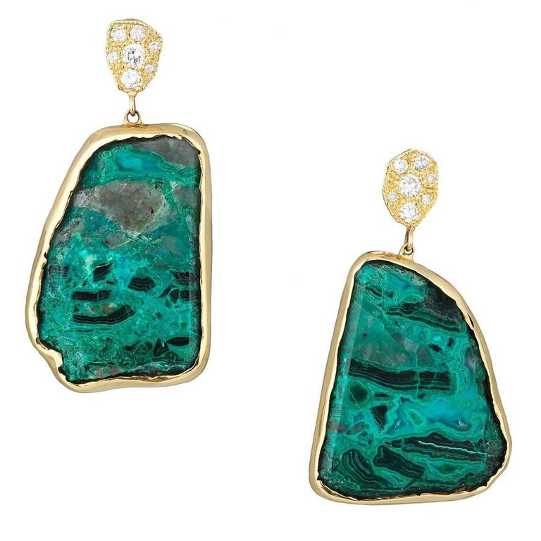 Gold Diamond and Chrysocolla Earrings For Sale