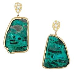 Gold Diamond and Chrysocolla Earrings