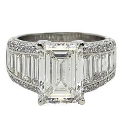 5.01 Carat Emerald Cut Diamond Platinum Engagement  Ring