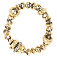 18 Karat and Diamond Link Bracelet