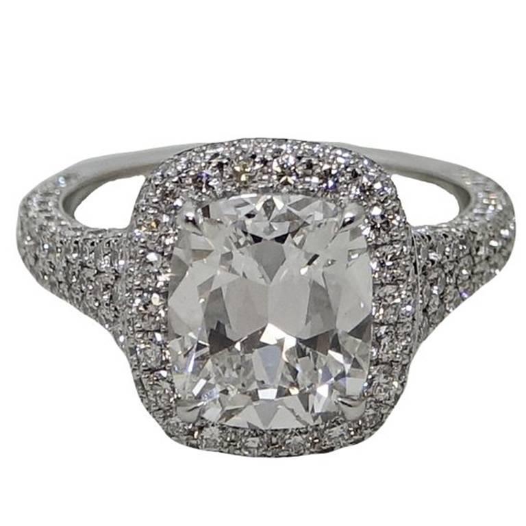 3.02 Carat Cushion Cut Diamond Platinum Engagement Ring