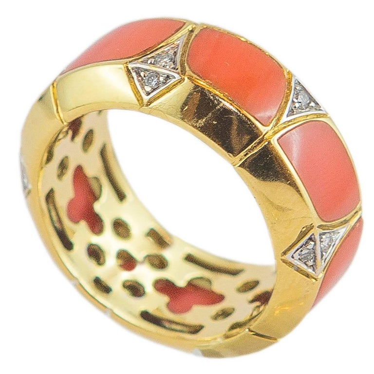 Coral Diamond Gold Ring 1