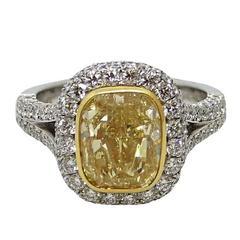 4.00 Carat Fancy Yellow Cushion Cut Diamond Engagement Ring