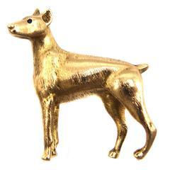 Tiffany & Co. Yellow Gold Doberman Dog Brooch Pin