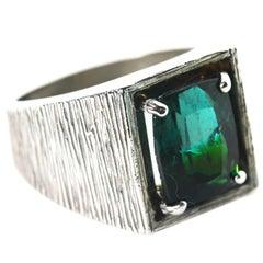 Gemjunky Elegant Impressive 6.5 Ct Greenish Blue Tourmaline Sterling Silver Ring