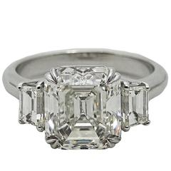 5.02 Carat Emerald Cut Diamond Platinum Ring