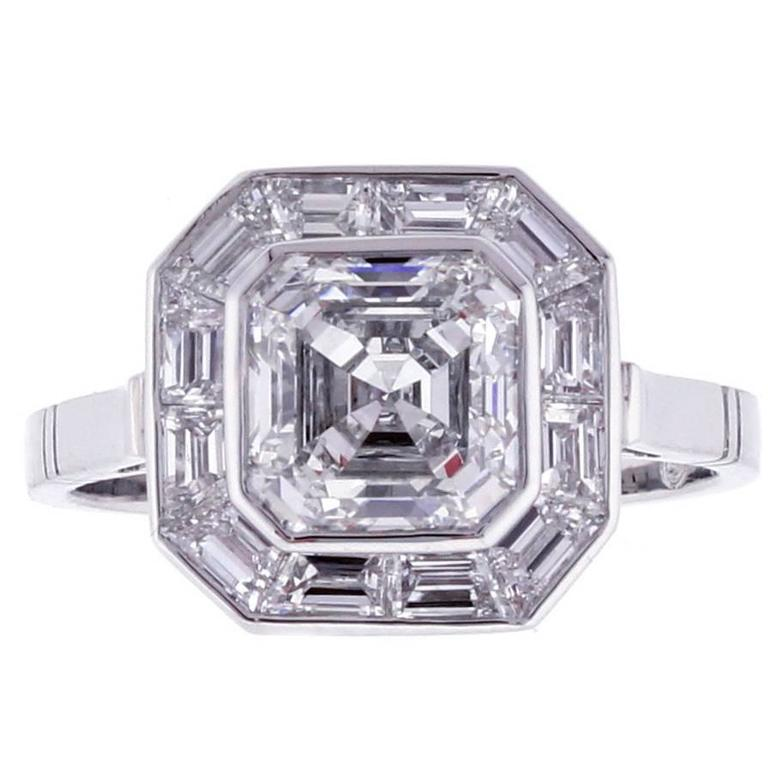 Pippa Middleton Style Asscher Cut Diamond Engagement Ring 1