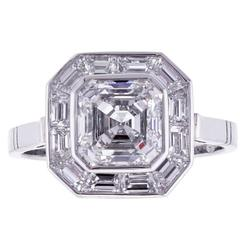 Pippa Middleton Style Asscher Cut Diamond Engagement Ring