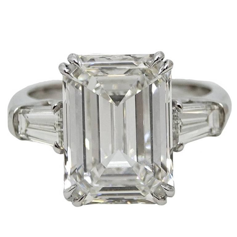 7.08 Carat GIA Certified Emerald Cut Diamond Platinum Engagement Ring