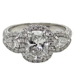 2.03 Carat GIA Cushion Cut Diamond Platinum Ring