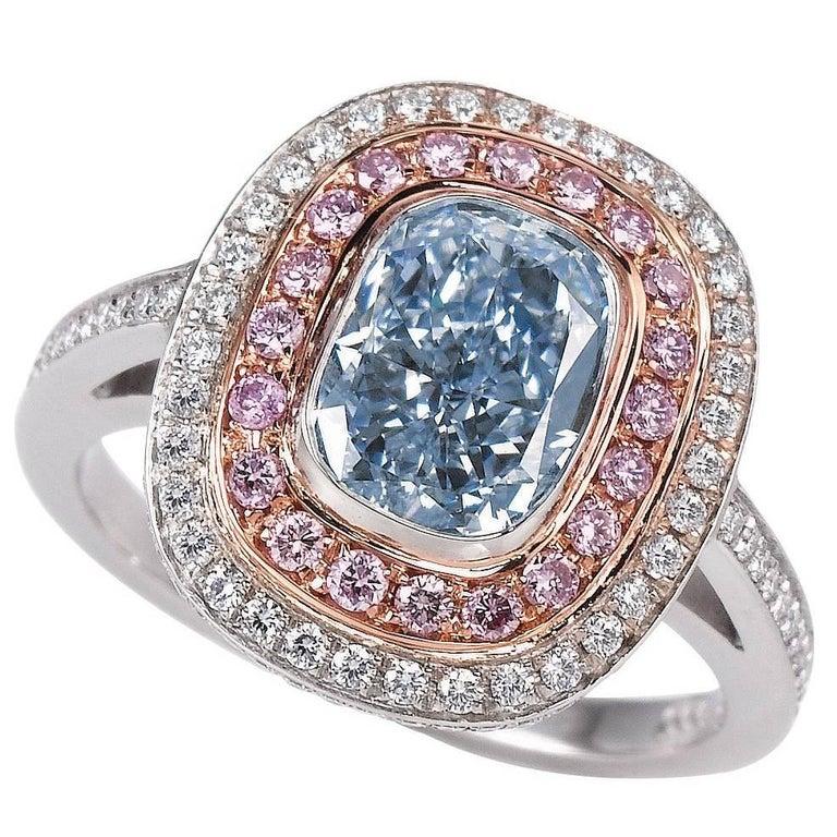 GIA Certified 2.21 Carat Fancy Light Blue Diamond Halo Engagement Ring