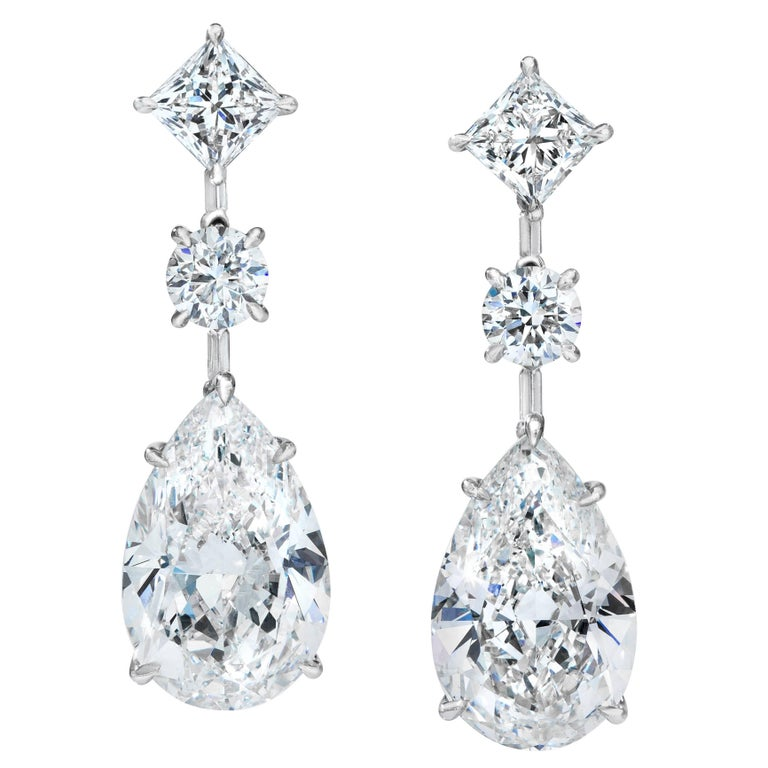 GIA Certified Pear Shape Diamond Platinum Dangle Earrings