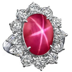 11.03 Carat AGTA Certified Natural Cabochon Star Ruby Halo Cocktail Ring