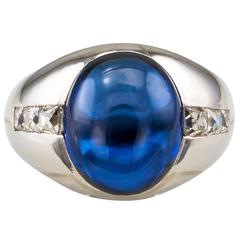 Unheated 7.00 Carat Ceylon Sapphire French-Cut Diamond Platinum Ring