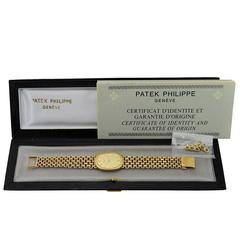 Patek Philippe Yellow Gold Bracelet Manual Winding Dress Wristwatch