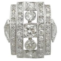 1940s 2.66 Carat Diamond and Platinum Cocktail Ring