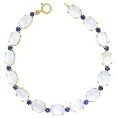 Tiffany Moonstone and Sapphire Gold Bracelet