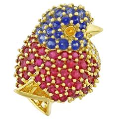 Jean Vitau Gemstone Gold Chickadee Brooch