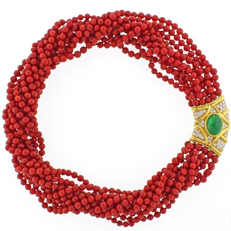 Ox-Blood Coral Diamond Emerald Necklace