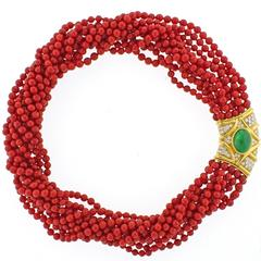 Ox-Blood Coral Diamond Emerald Necklace