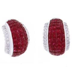 Invisible Ruby Diamond Hoop Earrings