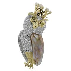 Pearl Diamond White and Yellow Gold Owl Pin