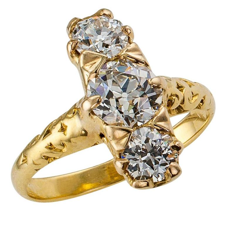 Victorian 1890s Three Stone Diamond Gold Ring For Sale at 1stdibs