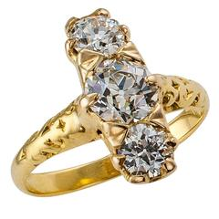 Victorian 1890s Three-Stone Diamond Gold Ring
